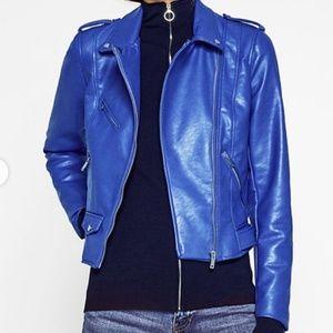 Zara Trafaluc | Blue Faux Leather Moto Jacket